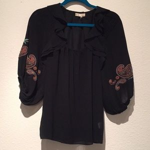 Black blouse, embroidered sleeve